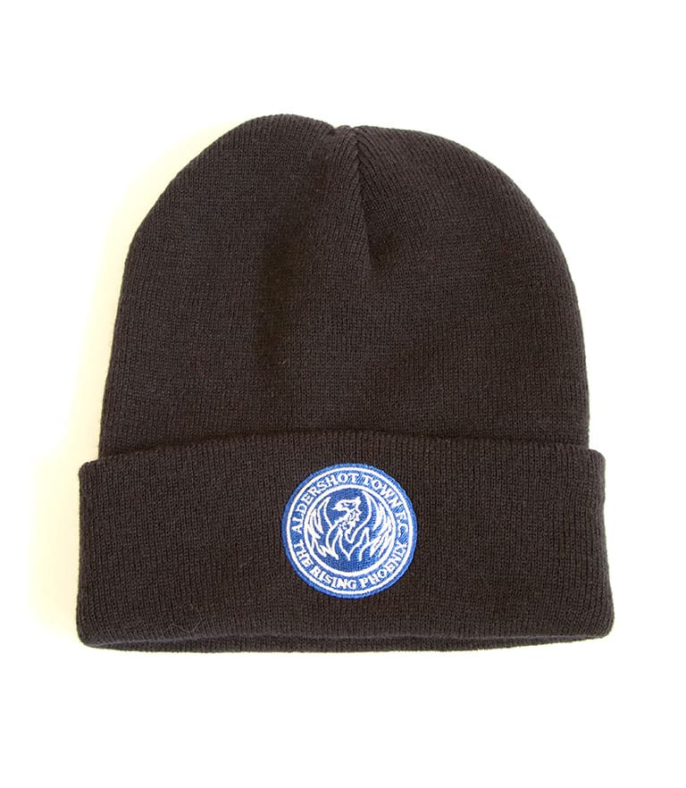 The Shots Blue Embroidered Beanie Hat Navy