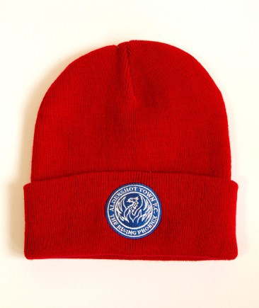 The Shots Blue Embroidered Beanie Hat Red