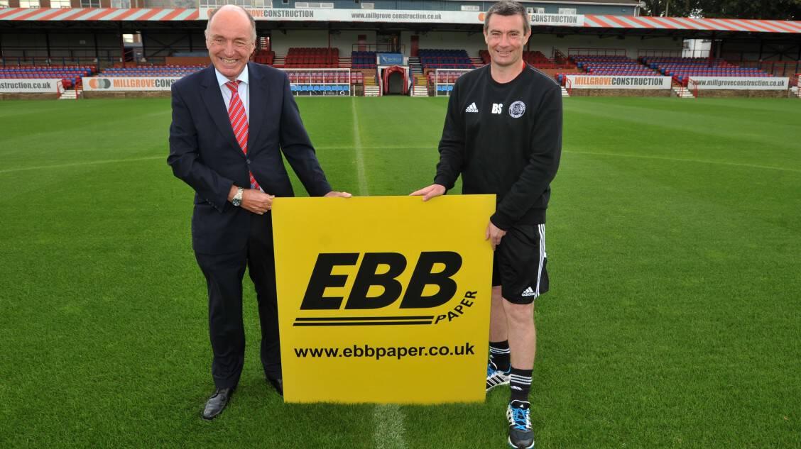 Aldershot FC, High Street, Aldershot. Signing of a new five year sponsorship deal. Tim Elliott (L) and Barry Smith