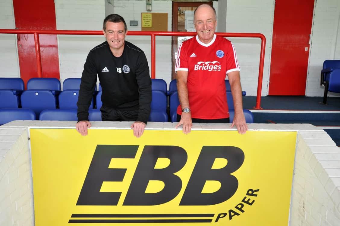 Aldershot FC, High Street, Aldershot. Signing of a new five year sponsorship deal. Tim Elliott and Barry Smith