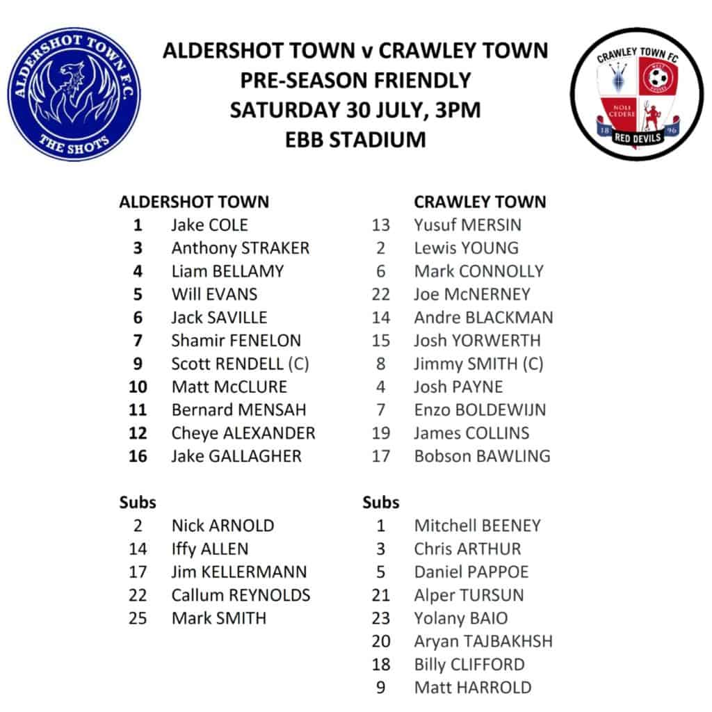 Crawley team sheet 2