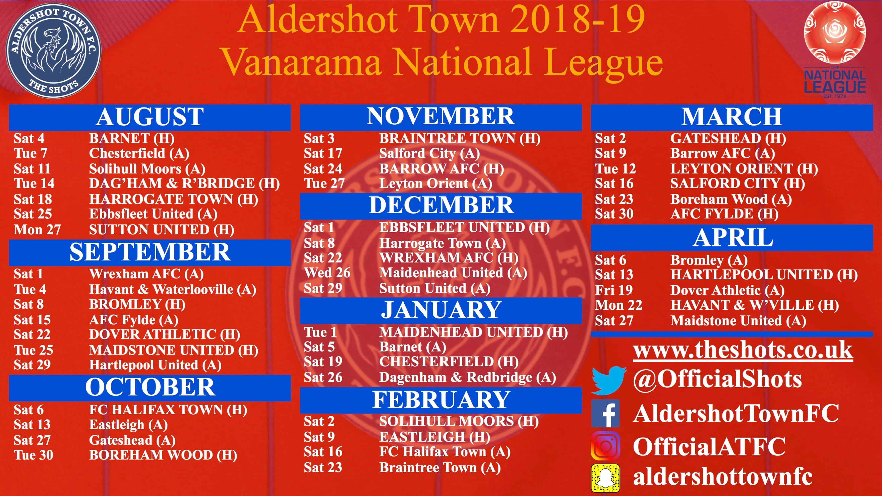 2018-19 Fixtures: Shots Start With Barnet At The EBB
